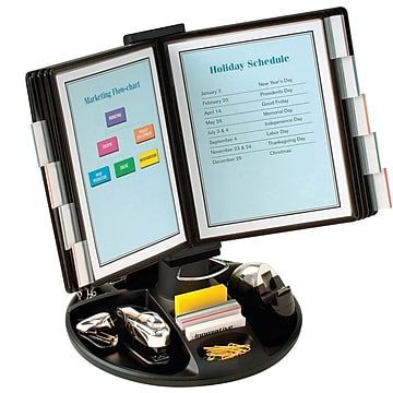 Aidata Executive Rotary Base Organizer With 10 Display Panels & Supply Trays, Black. I like the idea of this but not for over $100!!