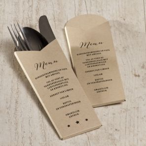 Wil je alle gasten verrassen met een mooie gedekte tafel? Dan mag dit originele eco bestekhoudertje zeker niet ontbreken.Bestekpochette Origineel design