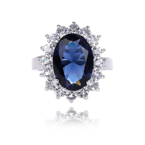 Diana Classic British Princess Kate Engagement Ring Silver Plated Retro Palace blue Crystal Ring Jewelry For Women
