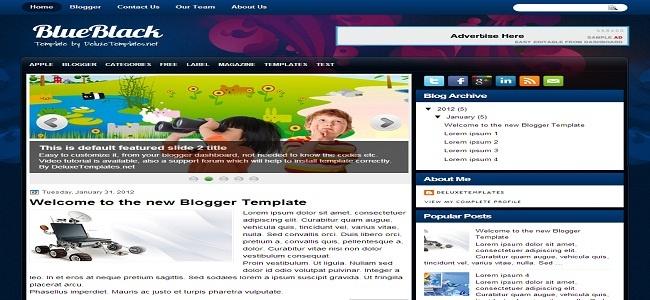 BlueBlack Blogger Template