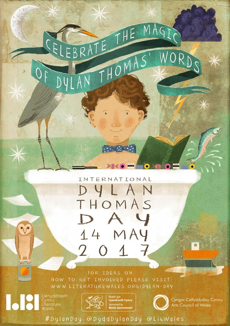 The poster for Internatonal Dylan Thomas Day 2017, with lovely artwork by Jago.  #DylanDay is on May 14th. #DylanThomas
