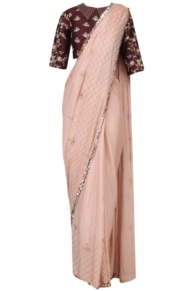 PINK PEACOCK COUTURE Nude Embroidered Saree with Burgundy Blouse. Shop Now! #indianfashion #indiandesigners #fashion #embroidered #perniaspopupshop #happyshopping