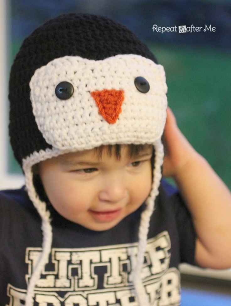Crocheted Penguin Hat will add winter whimsy to your little one's wardrobe. (Repeat Crafter Me)