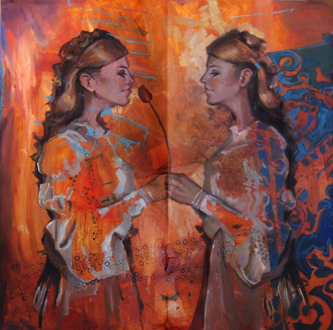 relacje malarstwo ludzie Urbaniak kobiety odbicie lustrzane w lustrze