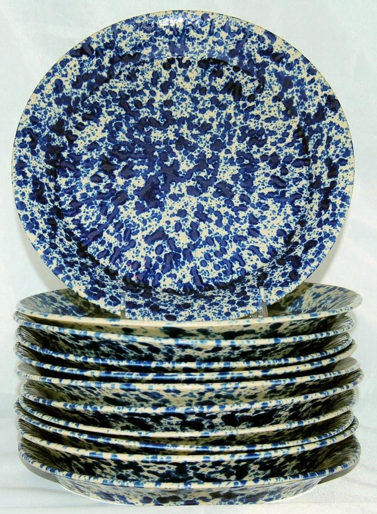Bennington Pottery Blue Agate stoneware plates, circa 1970s.