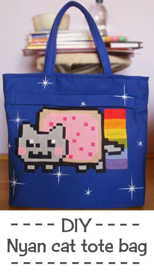 Do you love Nyan cat? Go check out my DIY nyan cat tote bag tutorial. This zippered bag is divided into 2 compartments and has 2 side pockets and you can fit all your school stuff inside. Purrfect!
