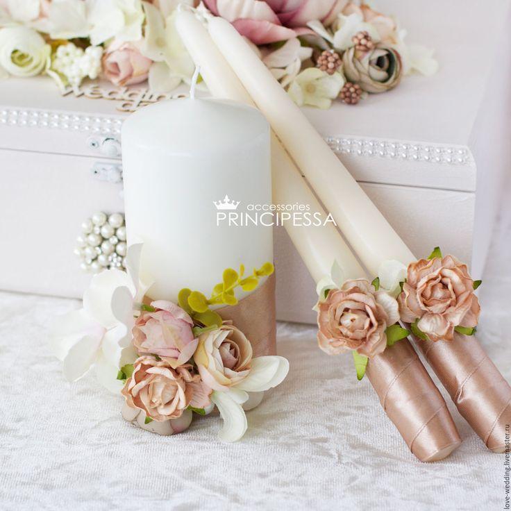 """""""Бежевые цветы"""" свечи свадебные - купить или заказать в интернет-магазине на Ярмарке Мастеров   Свадебный набор 2016 года.<br /> Возможен…"""