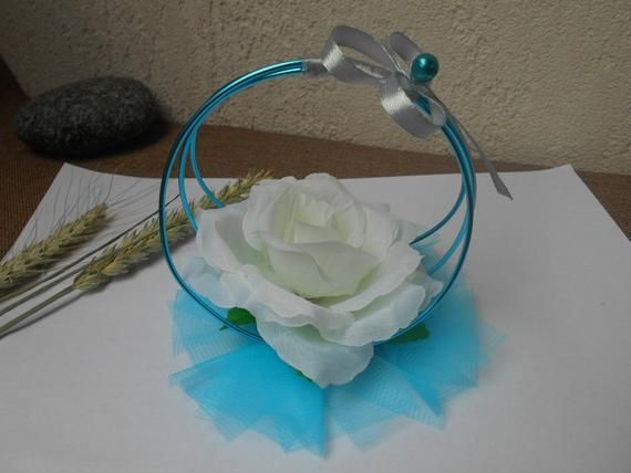 Table decoration - artificial pink - white turquoise and silver gray