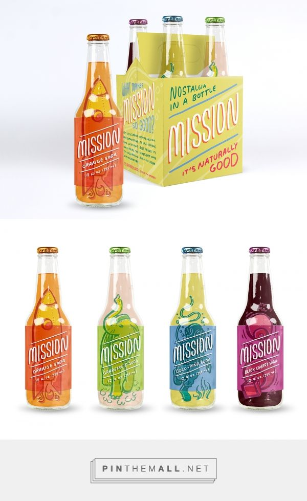 Mission fruit flavored sodas by Mandi Vollmer. Source: Behance. Pin curated by #SFields99 #packaging #design #inspiration #ideas #branding #beverages #soda