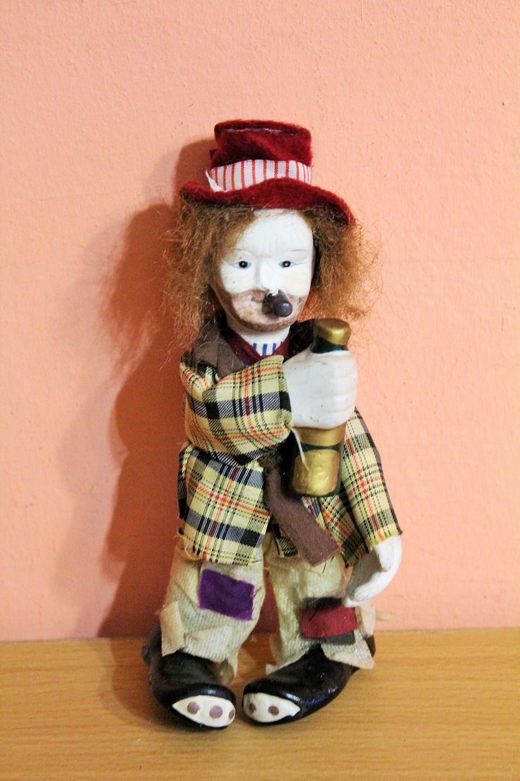 Vintage Porcelain Drunk Hobo Clown Drinking & Smoking With Cigar and Bottle, Vagabond Clown Figurine by Grandchildattic on Etsy