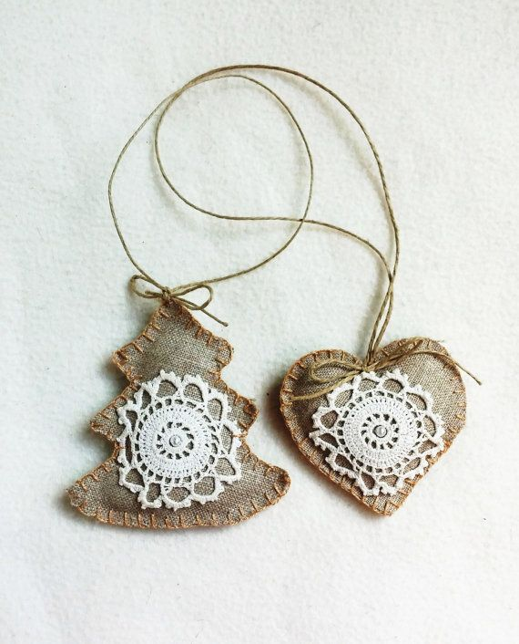 Christmas ornament burlap and lace set of 2 by PrettyFeltThings