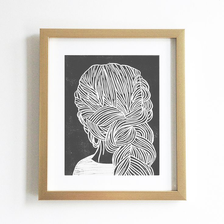 Set Forth Studio – Braids III Linocut Print, $35 // This art print will look gorgeous on your wall, and makes a great gift. Buy it now in the shop!