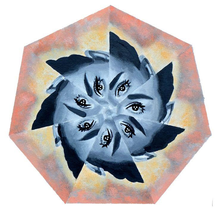 Eyes like a flower, acrylic on paper, Nikolina Ivanovic 2016