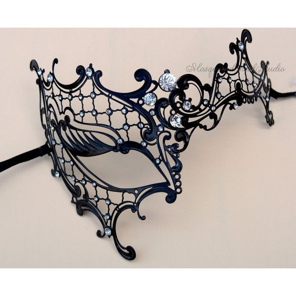 Black Masquerade mask- Luxury Venetian Filigree Laser Cut Half Face... (44 CAD) ❤ liked on Polyvore featuring costumes, masks, random, womens halloween costumes, ladies halloween costumes, lady costumes, masquerade costumes and womens black widow costume