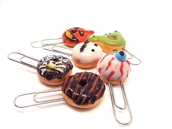 Halloween Miniature Donuts Paperclips by SmallIdea on Etsy