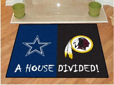 This is what we need!  Dallas Cowboys vs Washington Redskins House Divided Floor Rug