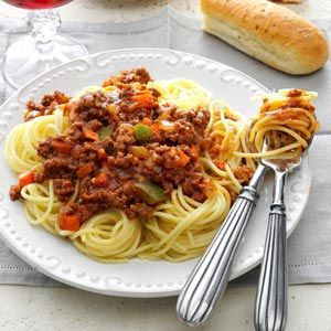 Meat Sauce for Spaghetti Recipe from Taste of Home  #slow_cooker   #crockpot