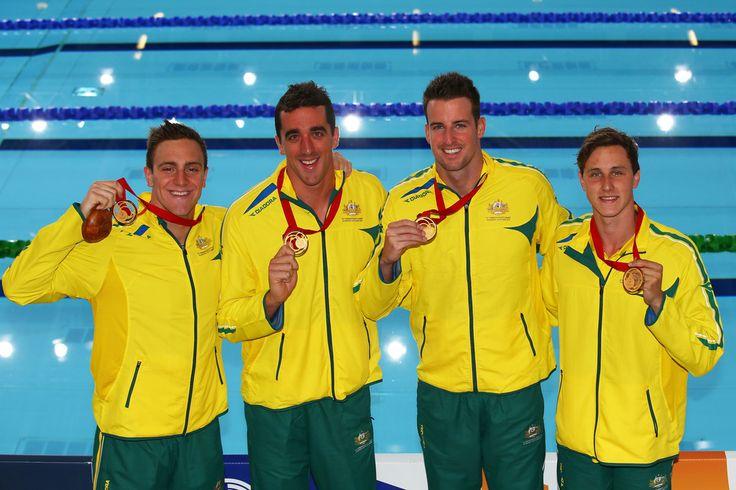 (L-R) Tommaso D'Orsogna, Matt Abood, James Magnussen and Cameron McEvoy of Australia