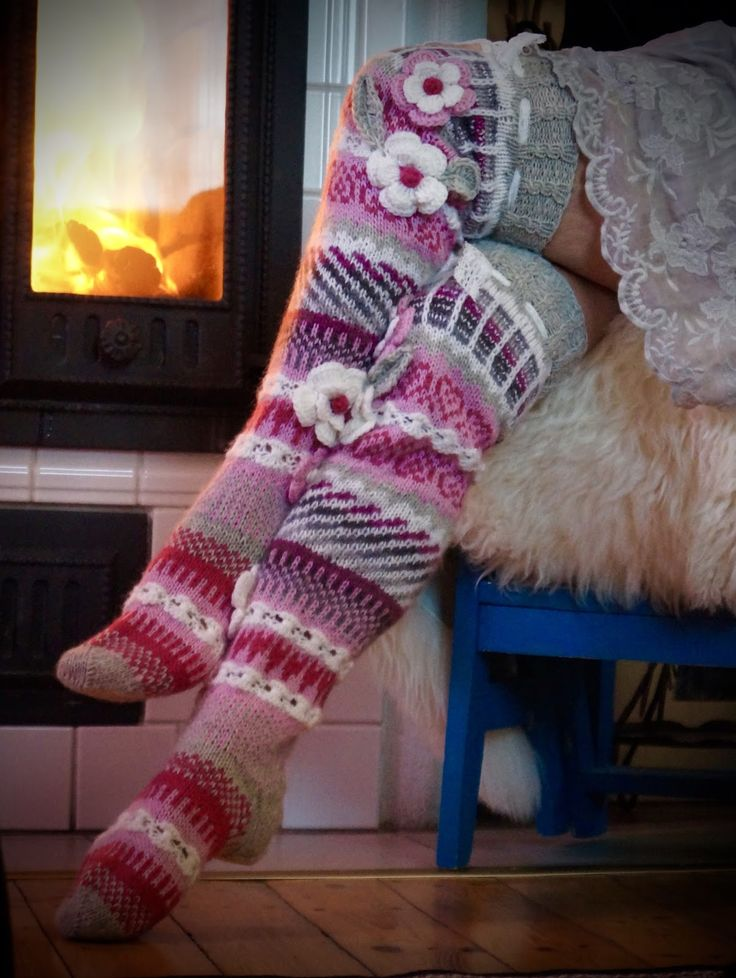Knit thigh high stocking.  No pattern
