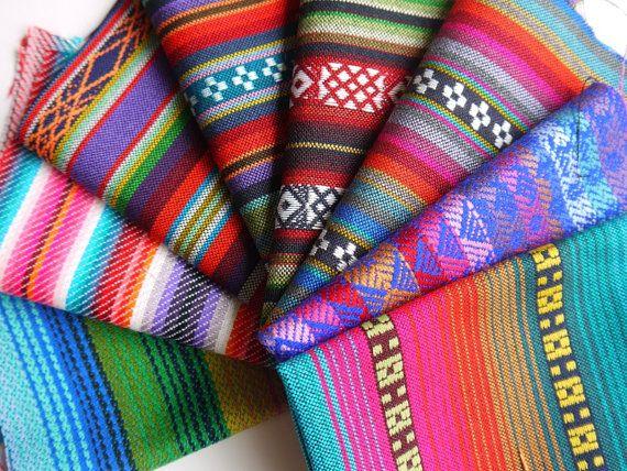 Tribal Fabric Latin American Woven Fabric Bundle / Sample Pack / Bright Neon Geometric Prints, Aztec Prints, Navajo Tribal Style, woven textiles