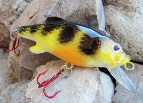 Fishing lures handpainted custom yellow perch by for Yellow perch fishing rigs