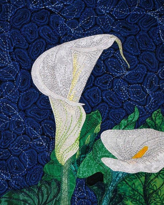 Quilt Art  Zantedeschia Aethiopica No 20 Textile by JaneLKakaley, $160.00