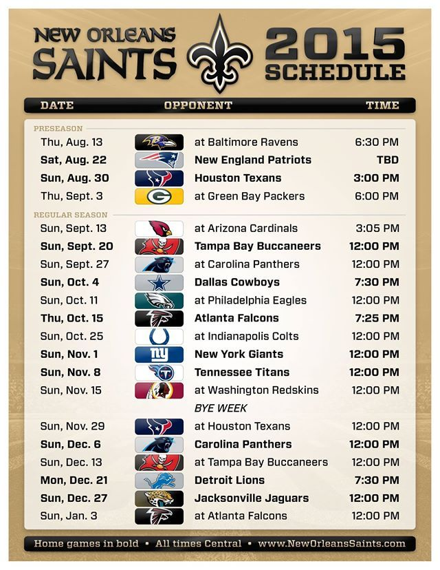 the 2015 New Orleans Saints schedule
