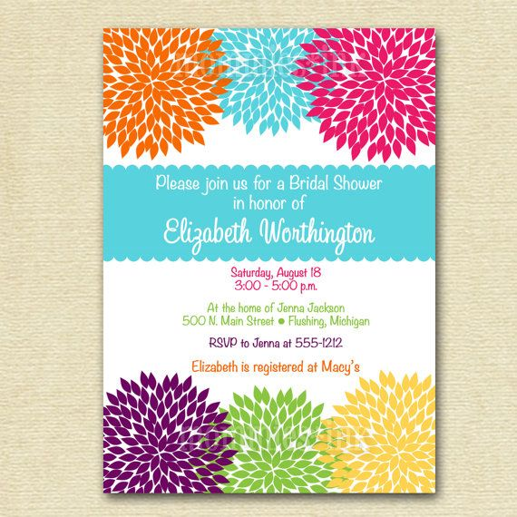 Rainbow Zinnia Blooms Bridal Shower Invitation  by MommiesInk, $12.00