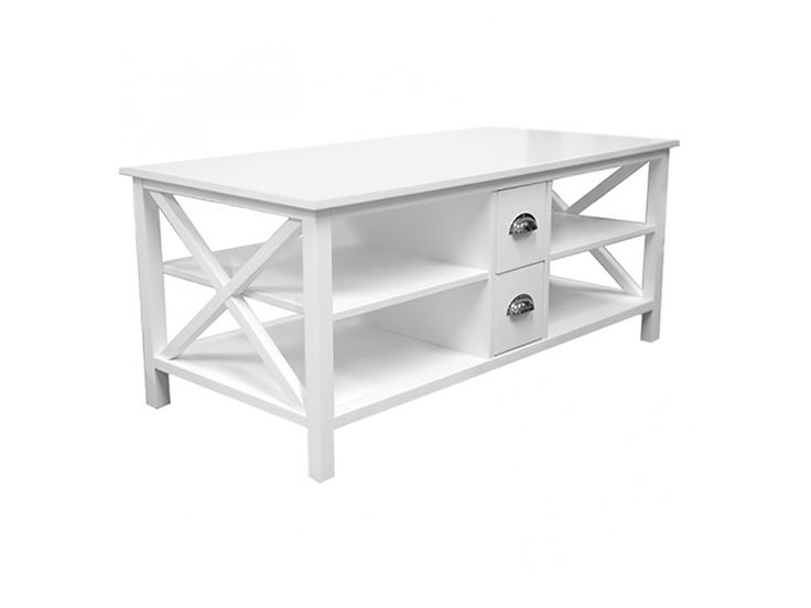 MICHELLE Soffbord med lådor 120 Vit i gruppen Inomhus / Bord / Soffbord hos Furniturebox (110-89-101940)