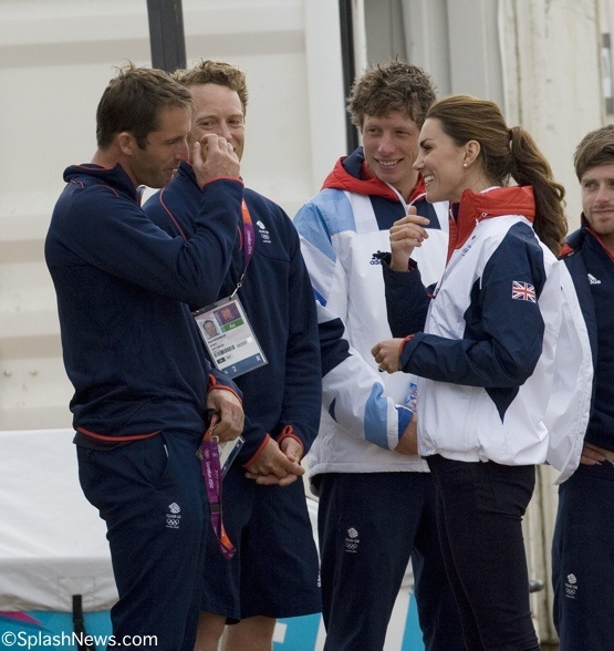 Kate, Duchess of Cambridge with sailing Team GB during London Olympics wearing spirit wear. californiateamwear.com