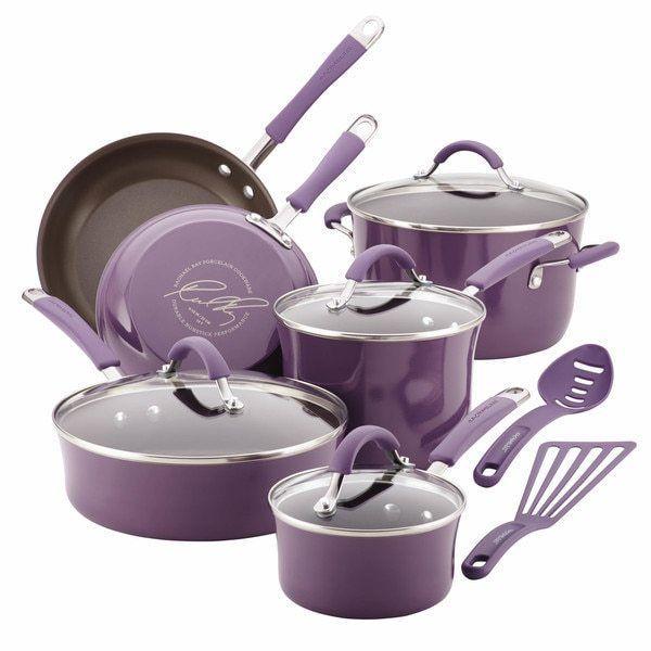 12 Piece Lavender Purple Enamel Nonstick Cookware Set Rachael Ray New #RachaelRay