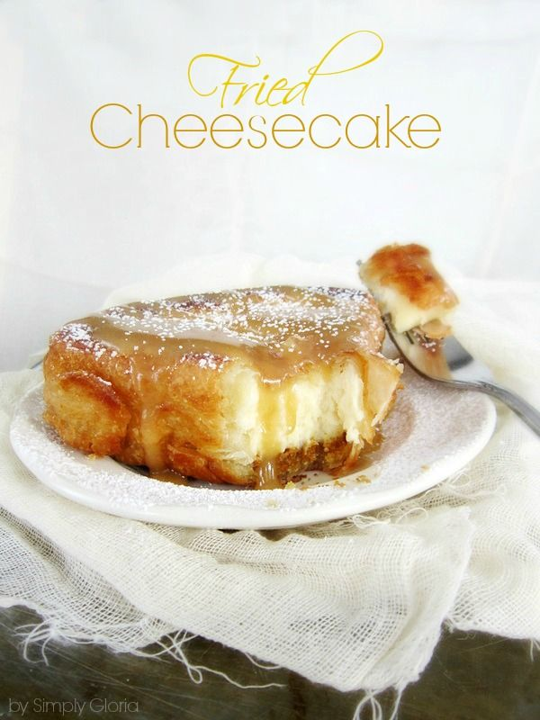 A decadent, creamy slice of cheesecake wrapped all cozy in a deep-fried pastry shell. Then drizzled with warm caramel sauce with every bite...