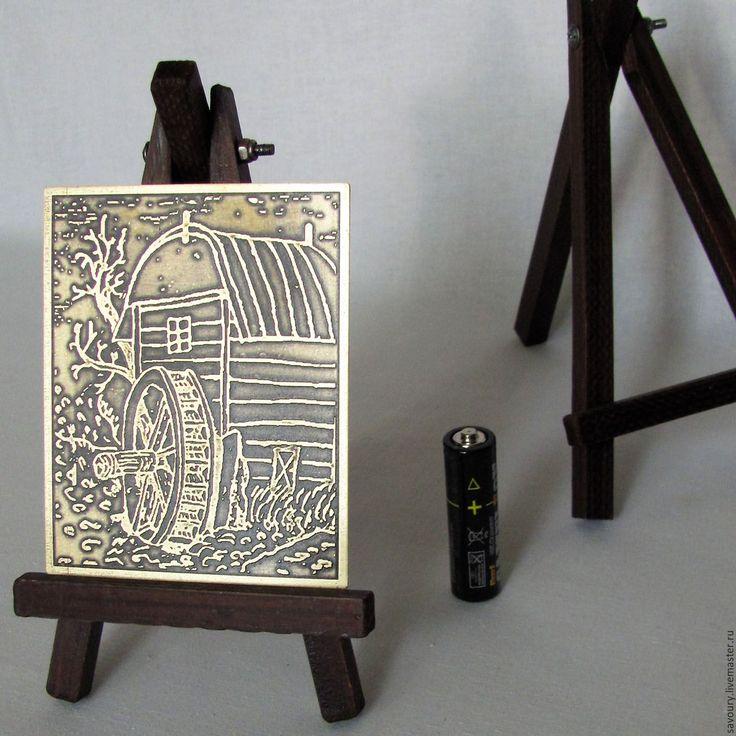 Купить мини гравюра - желтый, миниатюра, латунь ручной работы, латунь, дерево, сталь, лак