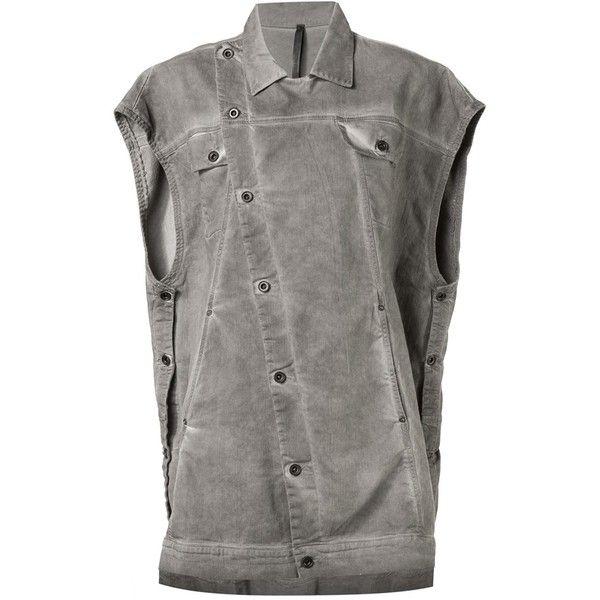 Barbara I Gongini oversized denim sleeveless shirt (1,354 CAD) ❤ liked on Polyvore featuring tops, grey, oversized denim shirt, gray shirt, gray sleeveless top, sleeveless shirts and oversized tops