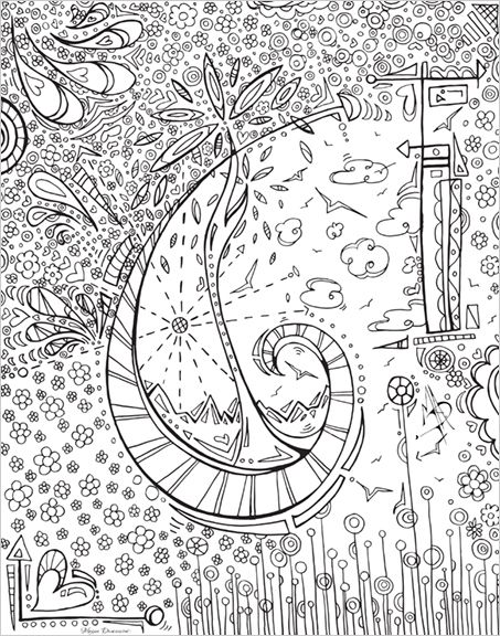 Whimsical Free Coloring Page Download For Adults Paper