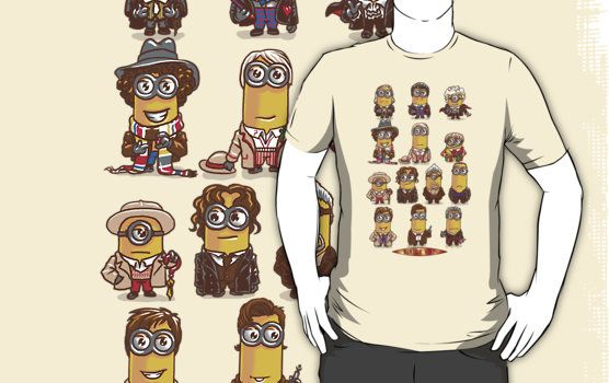 Minion Doctor Who T Shirt. All the doctors from past to present as minions. An amusing mashup shirt. | Visit http://shirtminion.com/2015/02/minion-doctor-who-t-shirt/