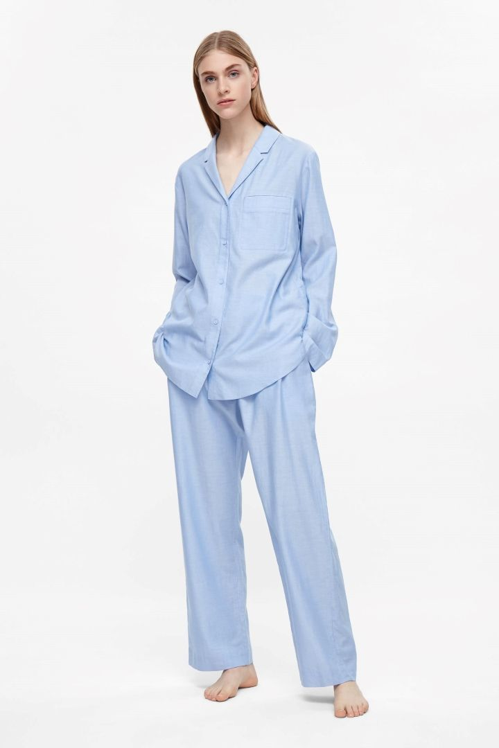 COS image 1 of Flannel pyjama shirt in Blue