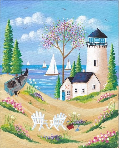 Captain and Crew Folk Art Print from Kim's Cottage Art on Etsy. I love the whimsical cats on the boat!: