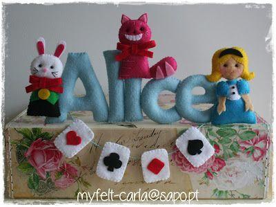 Nome Alice em feltro, que vai para o Brasil!