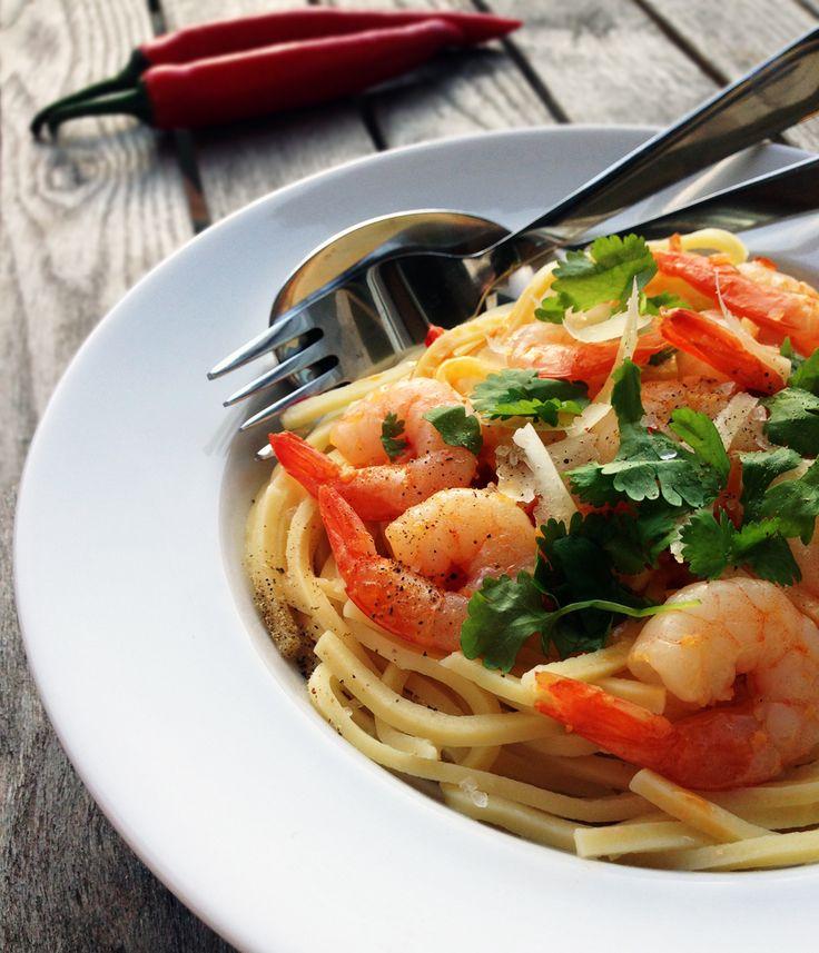 Rejer i chorizo olie med pasta