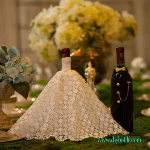 wine bottle covers | handmade wine bottle covers | Bride and groom wine bottle covers for wine bottles -the hit of wedding reception
