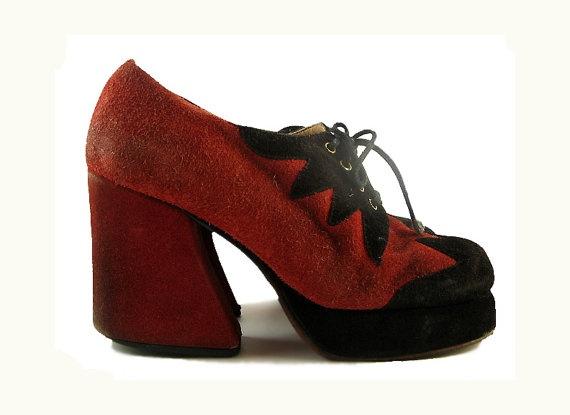 Vintage 70s 1970s Platform Shoes 2 Tone Suede Rust by weezieduzzit, $35.00