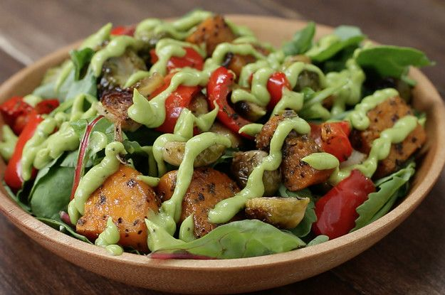 Roasted Veggies -- Butternut Squash, Red Bell Pepper, and Brussel Sprouts -- Great on this salad with Avocado Dressing!