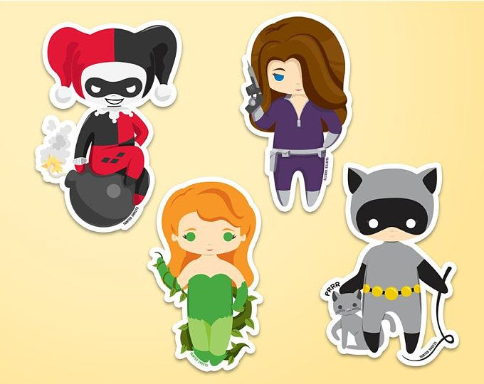 Justice League Stickers Etsy Chibi Gotham Villains Girl Stickers
