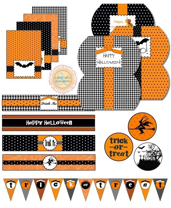 free printable orange and black halloween party printables - Free Printables For Halloween