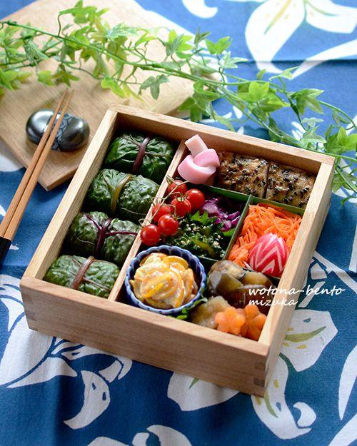 6/15 スイスチャードのめはり寿司の重箱弁当