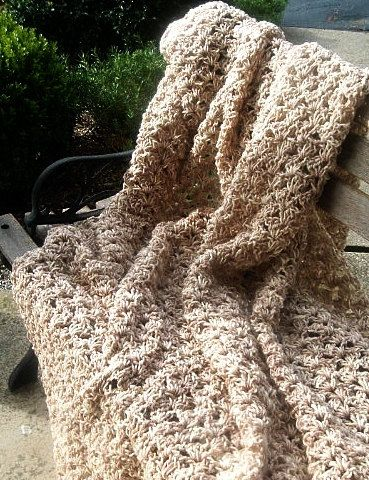 Hand Crocheted Afghan Throw in Cream and Tan Verigated. $44.00, via Etsy.
