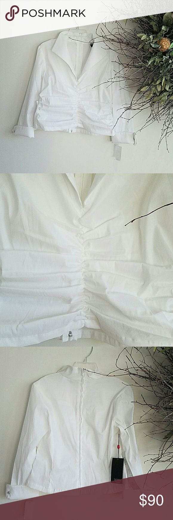 Tadashi white evening blouse Gorgeous Tadashi evening blouse with back white zipper. Cuffs have a crystal style button Tadashi Collection Tops