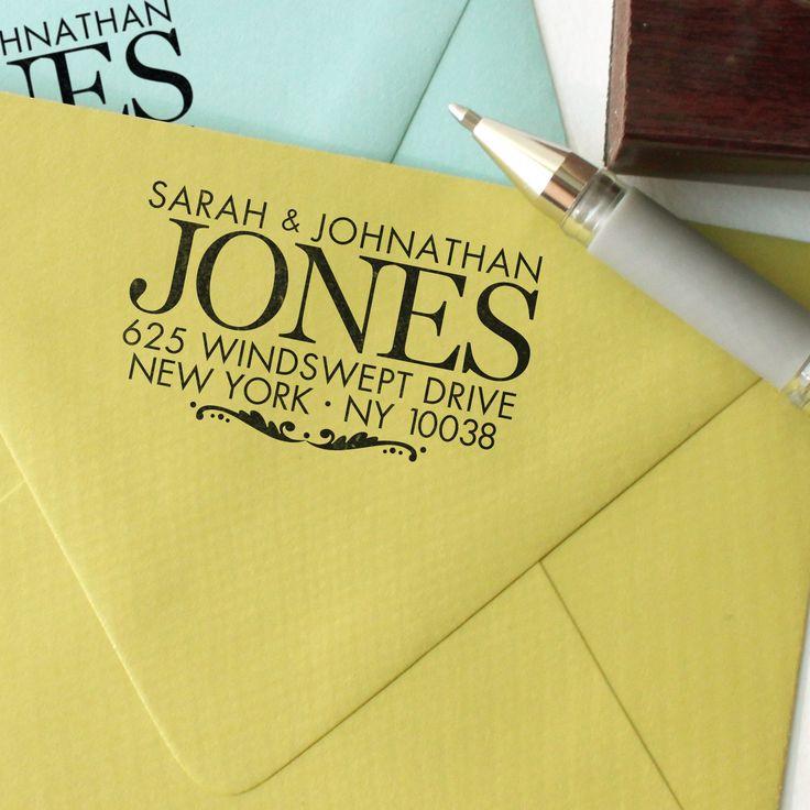 Custom return address stamp BIG SUR DESIGN with wood handle. $26.00, via Etsy.
