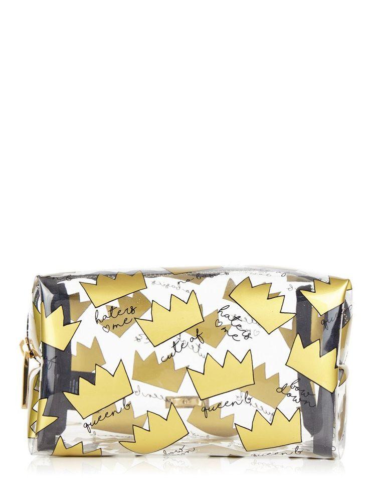 Crown Print Make Up Bag